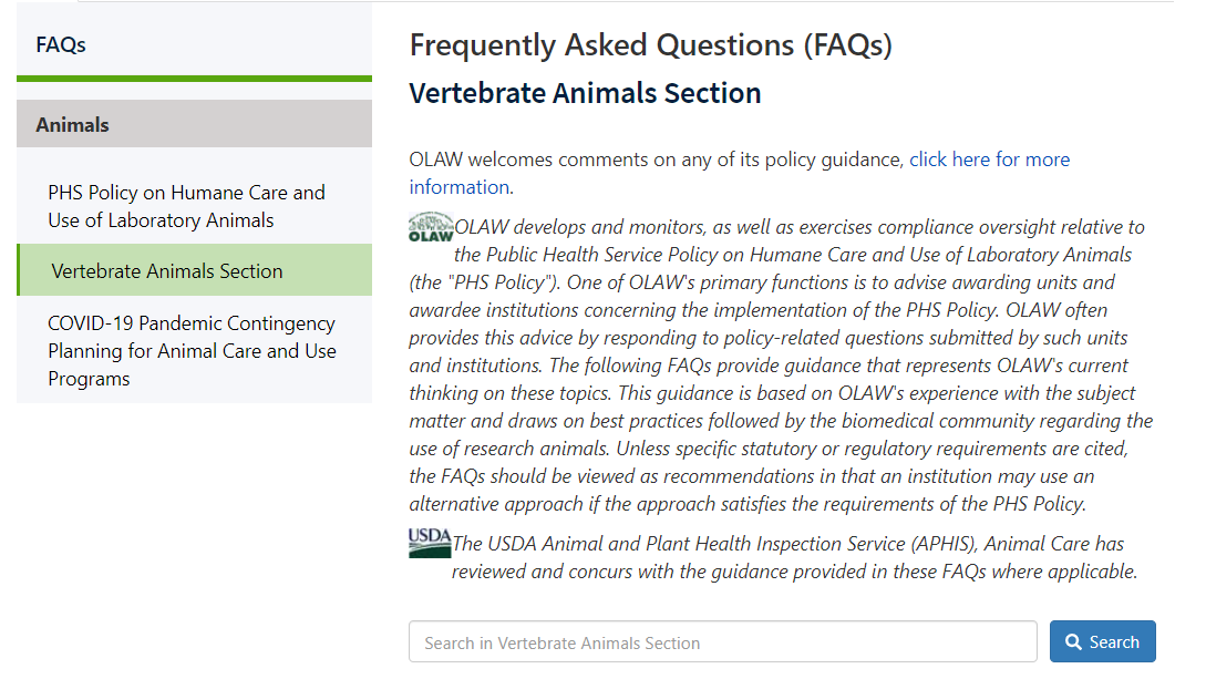 Screenshot of the new FAQs page.